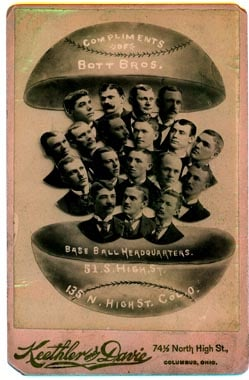 Cabinet card of a baseball team with a creative composite design