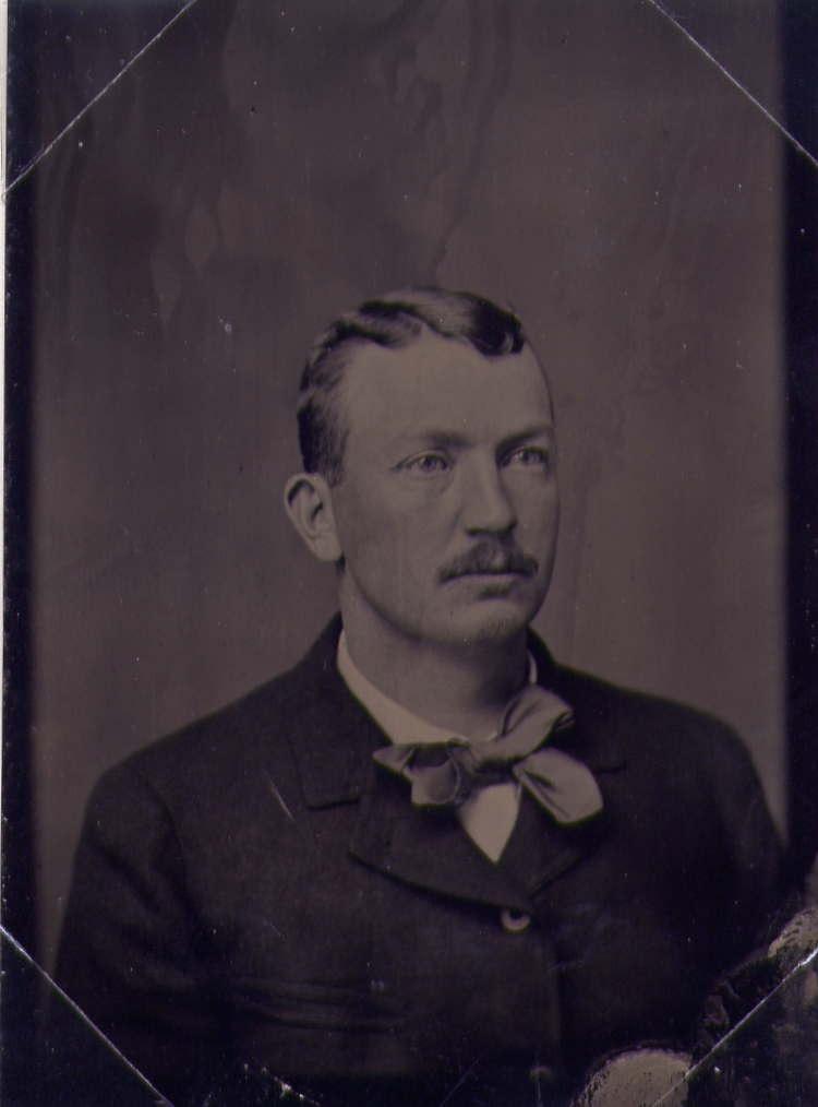 circa 1890 tintype of baseball star Cy Young, with the image on iron.