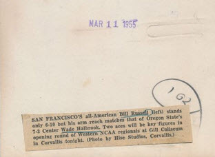 1955 NCAA tournament photo caption