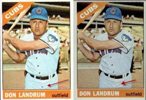 1966 Topps Don Landrum button fly variation