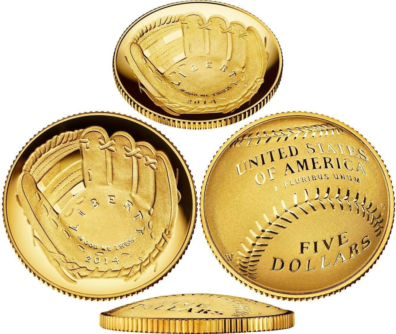 Gold $5 coin Baseball Hall of Fame