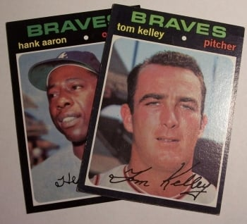 1971 Topps: from this picture book cards look good. However, the Aaron is a reprint. In subsequent pictures you will see the cards differ in distinct ways.