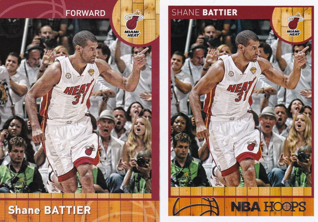 China (L) and North American versions of Shane Battier's Panini card