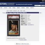 Sale listing Collectors Corner PSA Registry