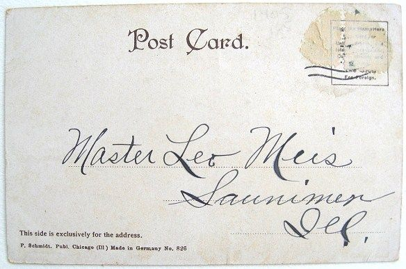 'Post Card Era' back: With the earliest real photo postcards, only the address could be written on the back. This back dates the postcard as being from 1901-07