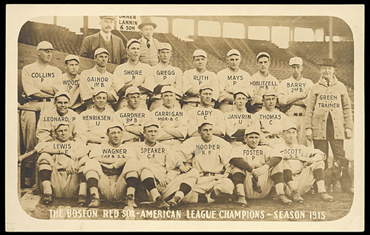 1915 Boston Red Sox including rookie Babe Ruth.