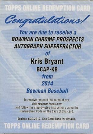 2014 Bowman Kris Bryant Superfractor autograph