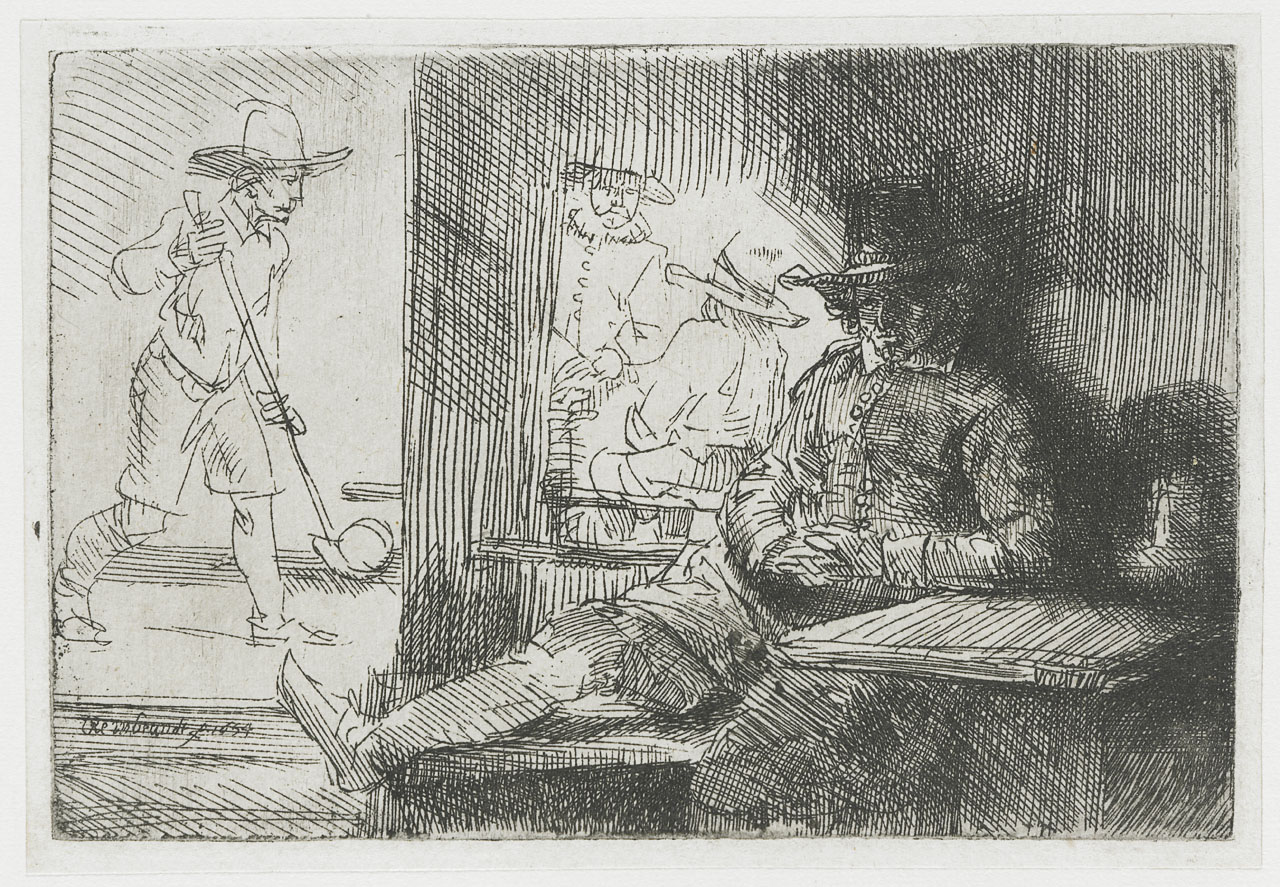 1654 Rembrandt etching showing a golfer