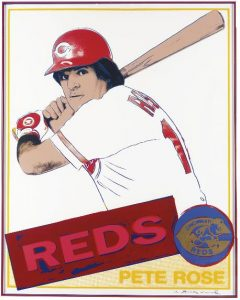 Pete Rose by Andy Warhol, based on Rose's 1985 Topps card. Trial Proof screen print limited edition numbered 30 of 30 and signed by Warhol