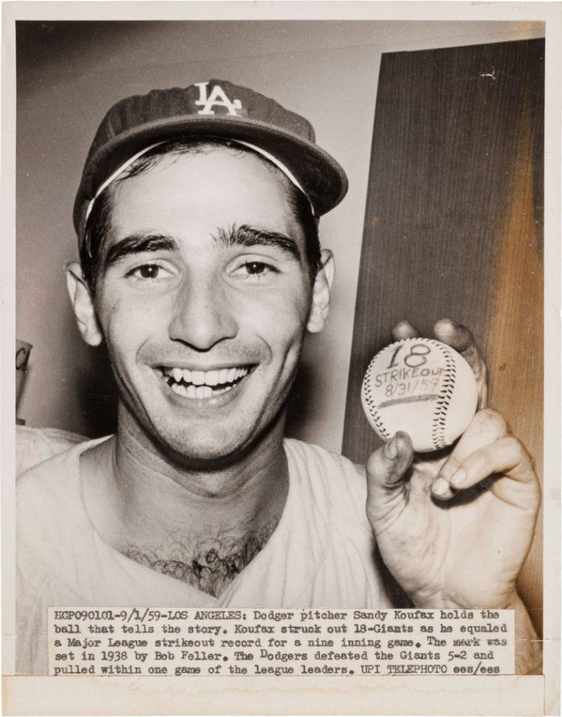 Sandy Koufax 18 strikeout baseball