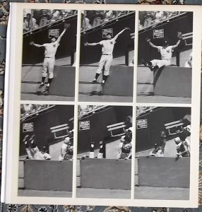 Yankees outfielder stealing a home run from Angels' Ken Hunt.  Sequence composite photo from 1961.