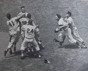 1957 Brawl at Brooklyn's Ebbits Field, including Gil Hodges, Walt Alston, and Eddie Mathews (41) throwing a punch at Don Drysale.
