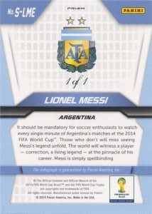Back of Lionel Messi Panini Prizm World Cup 1/1