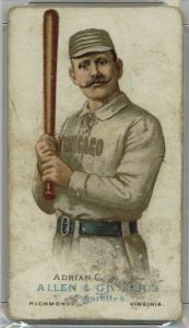 Colorful handmade lithographs, such as on this 1880's Allen & Ginter card of Cap Anson, can resemble paintings, but are prints.