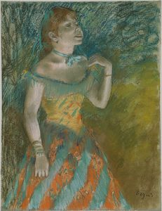 1800's pastel by Edward Degas, resembling a chalk or crayon drawing.