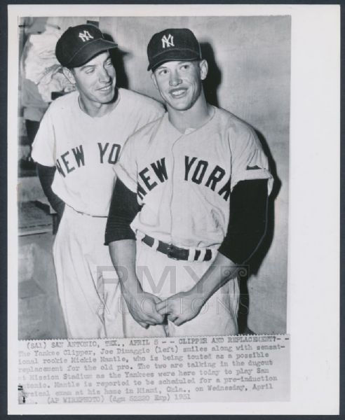 Joe DiMaggio Mickey Mantle 1951 photograph