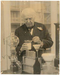 Thomas Edison working in his lab.