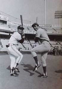 Joe Torre and Sadahara Oh comparing batting stances.  Original Japanese photo from the New York Mets Tour of Japan.  The photo came from a presentation album given by the Japanese to the President of the Mets' Shea Stadium.