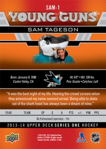 2013-14-NHL-Upper-Deck-Young-Guns-Rookie-Heroic-Inspirations-Sam-Tageson-Back