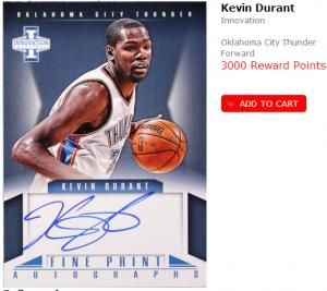 Panini Rewards Kevin Durant auto