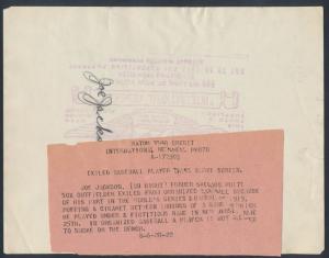 back caption Joe Jackson baseball photo 1922