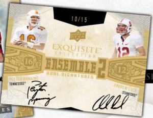 2013 Exquisite Football dual auto Peyton Manning Andrew Luck