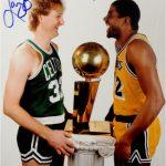 Magic Johnson Larry Bird signed photo trophy