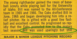 Bill Stoneman 1968 Topps error