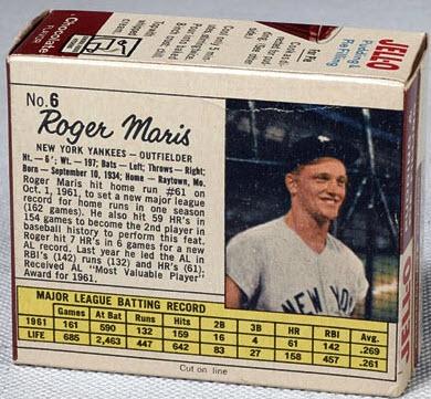 Roger Maris box Jello Pudding