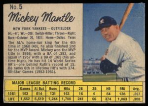 Mickey Mantle 1962 Jello