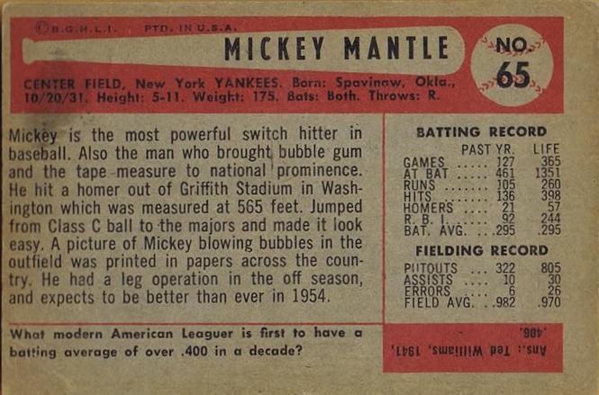 Mantle back 1954 Bowman