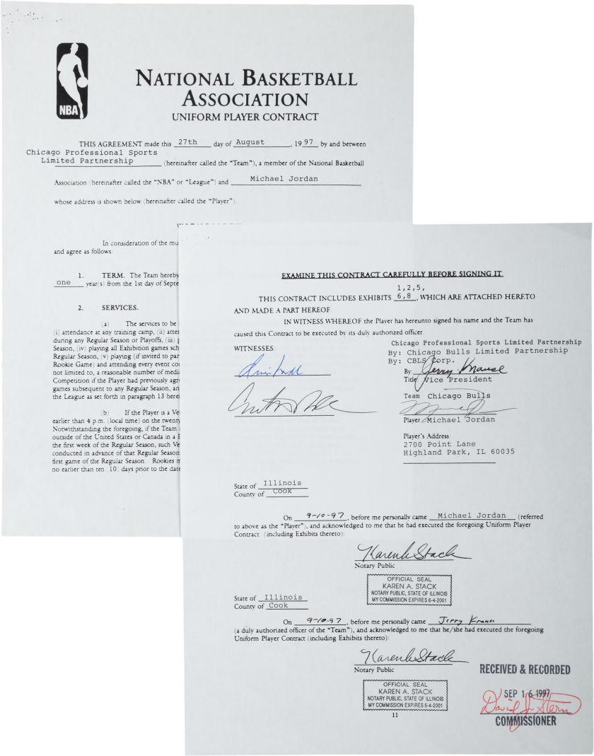 1997 signed Michael Jordan Bulls contract
