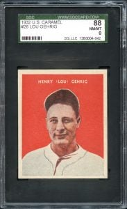 Lou Gehrig 1932 US Caramel