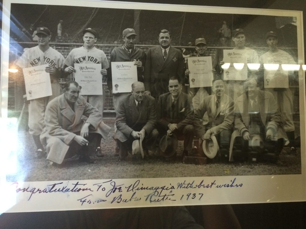 Babe Ruth autographed photo Joe DiMaggio