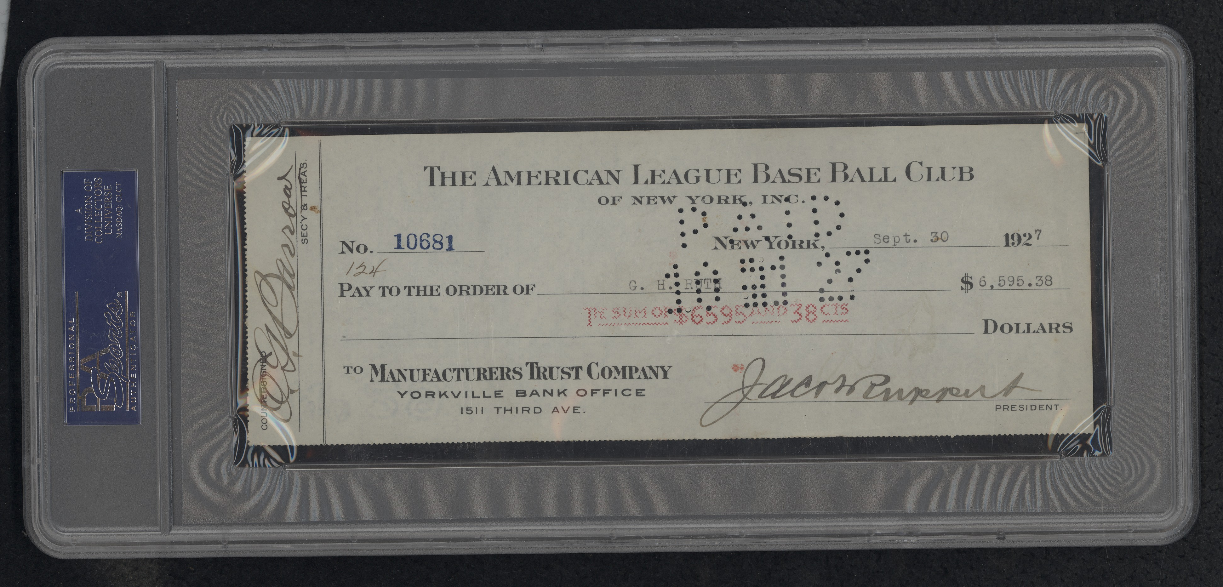 Babe Ruth signed check 1927