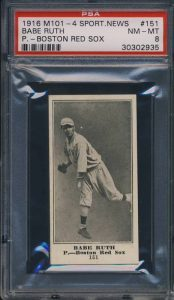 1916_M101-4_SN_Babe_Ruth_PSA_8_Front_Rookie_Serial#2935