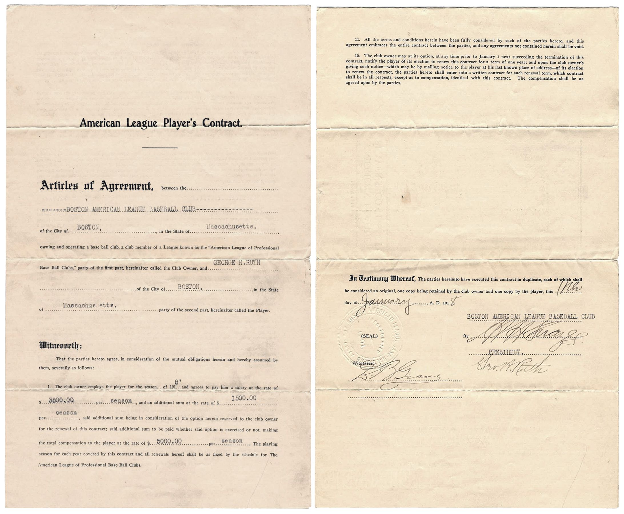 Babe Ruth Red Sox contract 1918