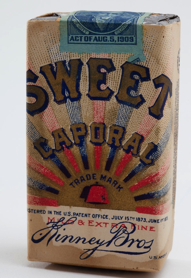 Sweet Caporal cigarette packs with a 1909 tax stamp.