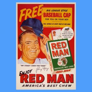 Original 1953 Red Man poster featuring the Yankees' Johnny Mize.