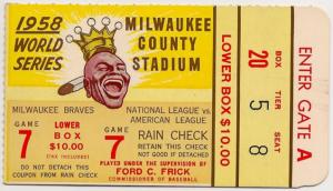 1958 World Series ticket stub