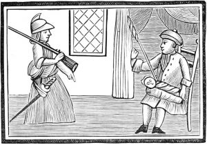 1700s woodcut from a pamphlet showing the simple, almost primitive lines