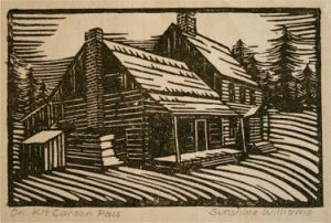 This antique woodblock print has the distinct look from the graphics being carved and chiseled in the block of wood the print was printed from.