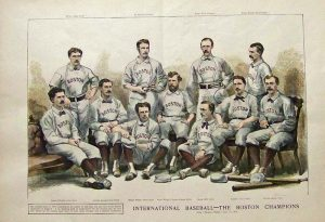 1874 Harper's Weekly hand colored wood-engraving of the Boston Bostons baseball team.