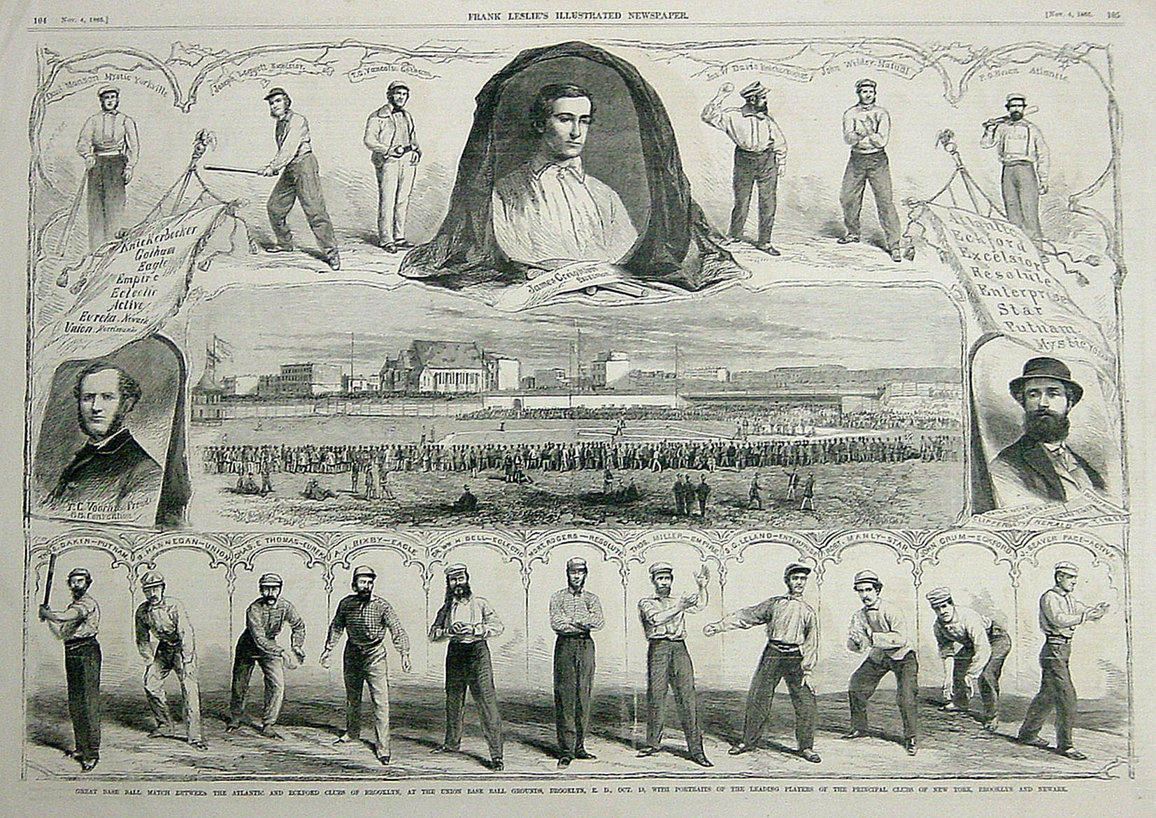 1865 Leslie's Illustrated Newspaper wood-engraving featuring early baseball star James Creighton