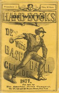 Rare 1877 De Witt's baseball guide book with a wood-engraving picture on the cover.