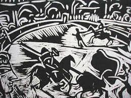 Detail of a Pablo Picasso linoleum cut print, closely resembling a woodcut.