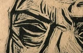 Detail of a woodcut print revealing how the wood block was carved by hand