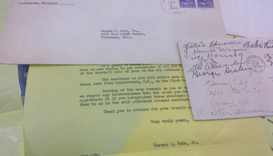 Original letters to players and return envelope