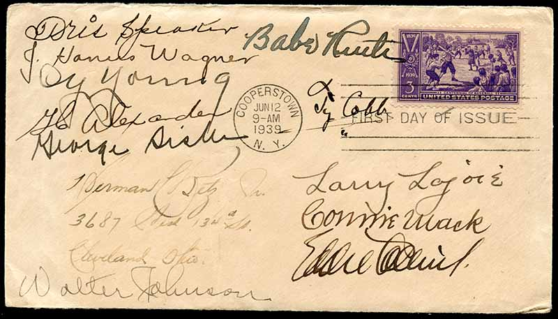 Hall of Fame 1939 autographed first day cover