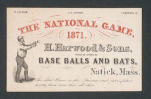 Engraving: 1871 baseball trade card